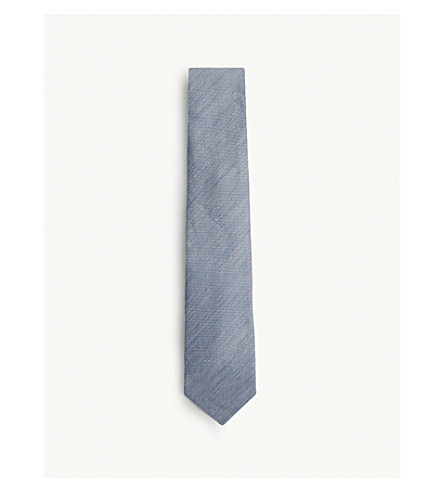 TOM FORD Micro-dot linen and silk tie (Blue