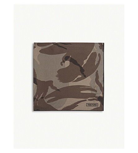 TOM FORD Camouflage print silk pocket square (Camo