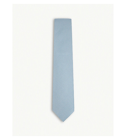 TOM FORD Textured solid silk tie (Blue