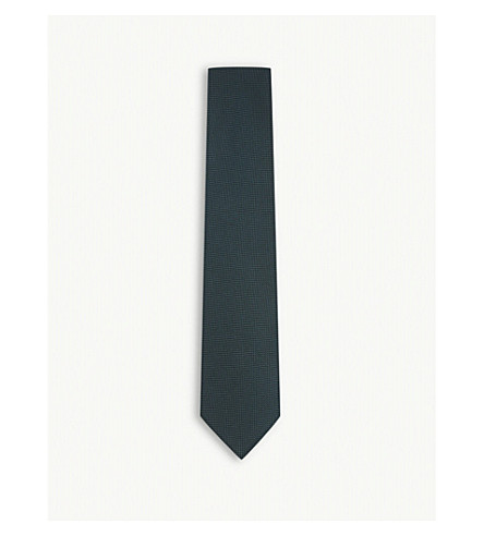 TOM FORD Textured solid silk tie (Green