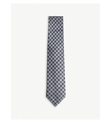 TOM FORD Interlocking houndstooth print silk tie (Blue