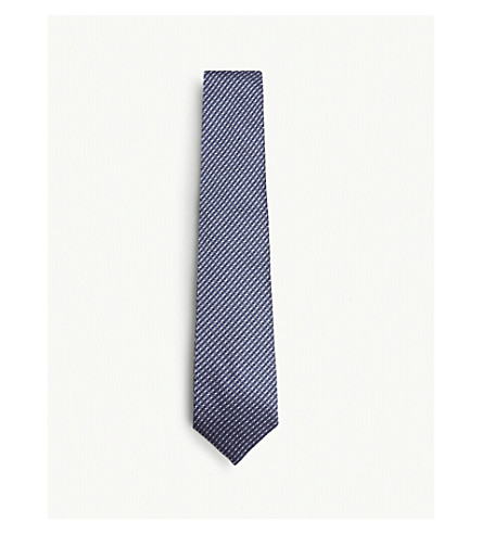TOM FORD Woven spot silk and linen tie (Navy