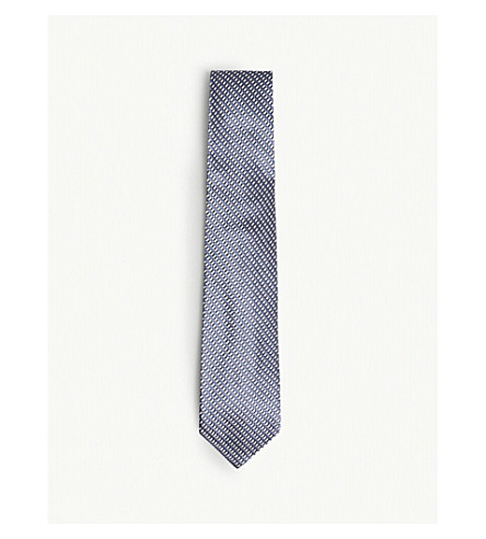 TOM FORD Large woven spot silk tie (Blue