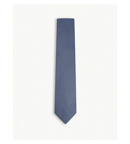 TOM FORD Chevron silk tie (Blue