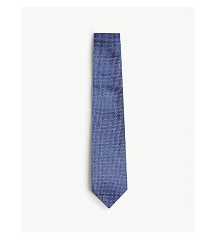 TOM FORD Textured chevron silk tie (Blue