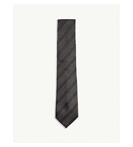 TOM FORD Triple stripe silk tie (Black