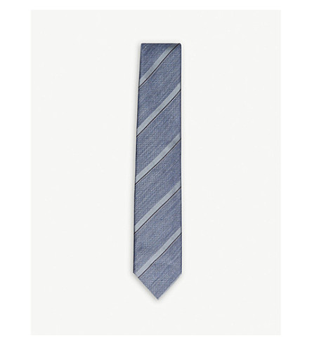 TOM FORD Diagonal stripe textured silk tie (Blue