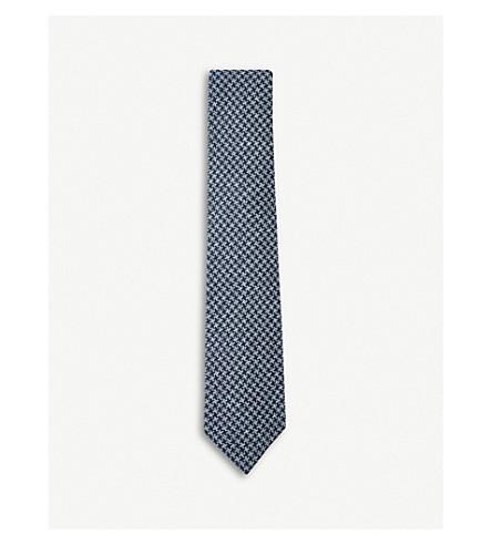 TOM FORD Interlocking houndstooth silk tie (Blue