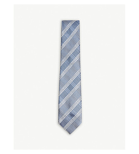 TOM FORD Prince of Wales check silk tie (Blue