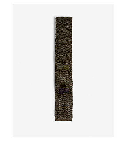 TOM FORD Compact knit square-cut silk tie (Brown