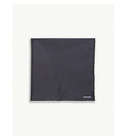 TOM FORD Contrast border silk pocket square (Black