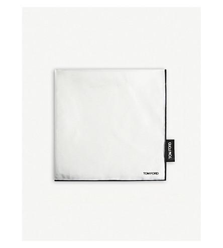 TOM FORD Contrast border silk pocket square (White