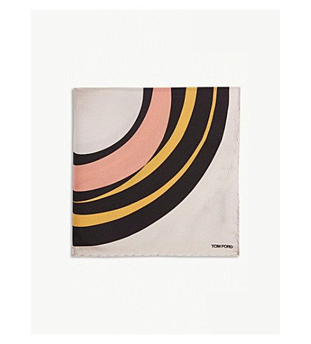 TOM FORD Abstract target silk pocket square (Pink