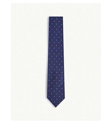 TOM FORD Micro-dot silk and wool tie (Blue