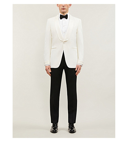 TOM FORD Single-breasted wool and mohair-blend jacket (White