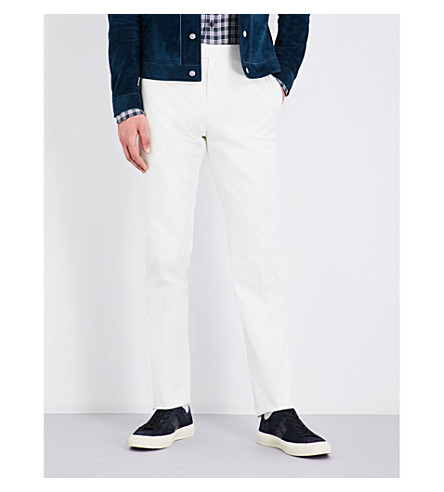 TOM FORD Slim-fit cotton trousers (Ivory