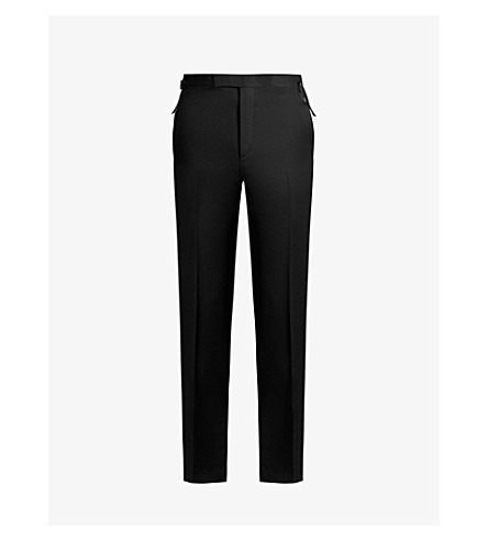 TOM FORD Brinsley-fit straight wool and mohair-blend trousers (Black