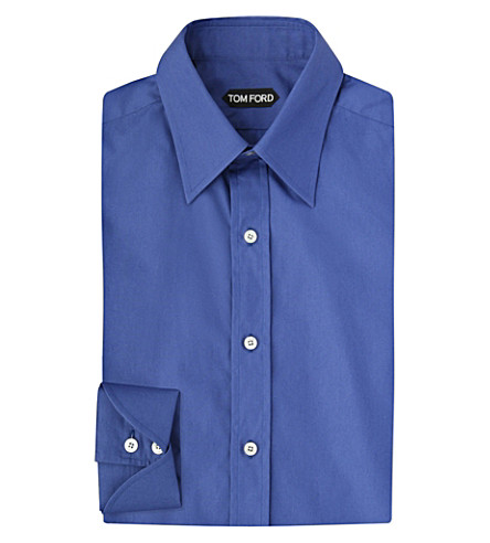 TOM FORD Turn-back cuff cotton shirt (Blue
