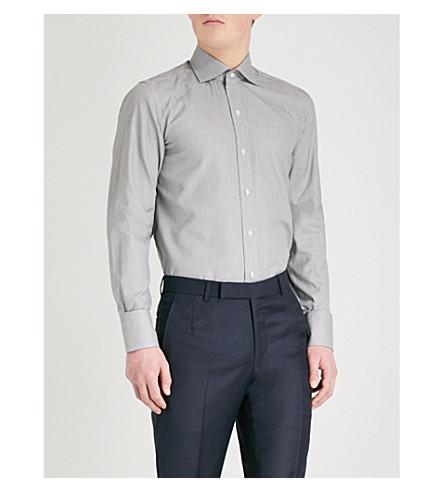 TOM FORD Sharkskin-pattern classic-fit cotton-blend shirt (Black