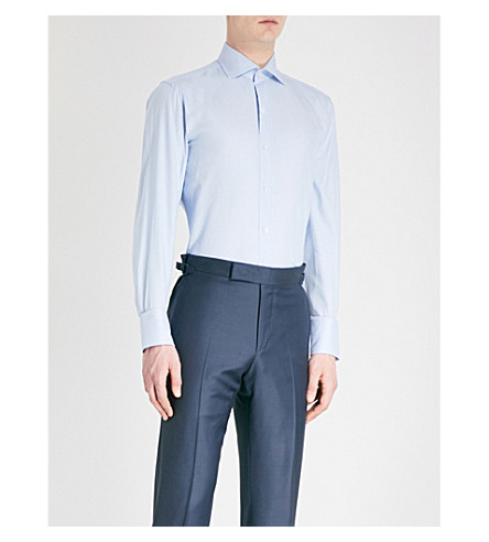 TOM FORD Sharkskin-weave classic-fit cotton-blend shirt (Blue
