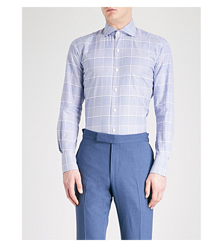 TOM FORD Checked regular-fit cotton shirt (Blue