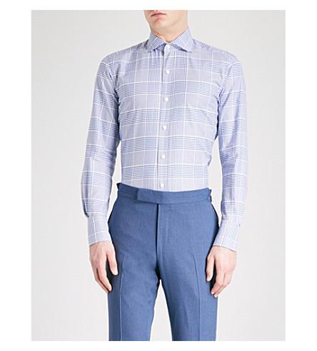 TOM FORD 格纹常规版型棉衬衫 (蓝色
