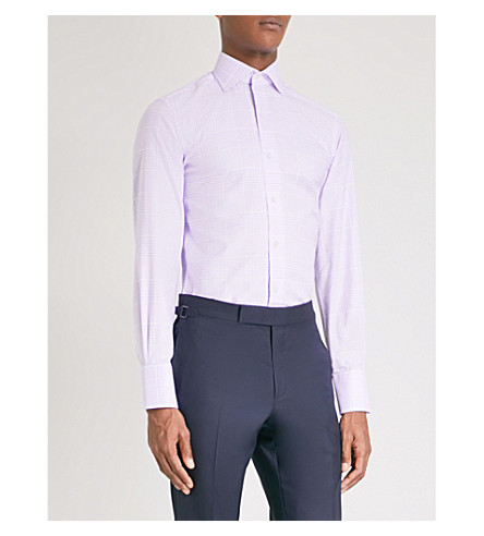 TOM FORD Checked classic-fit cotton-crepe shirt (Purple