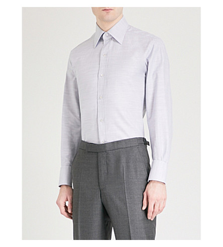 TOM FORD Checked regular-fit cotton shirt (Grey