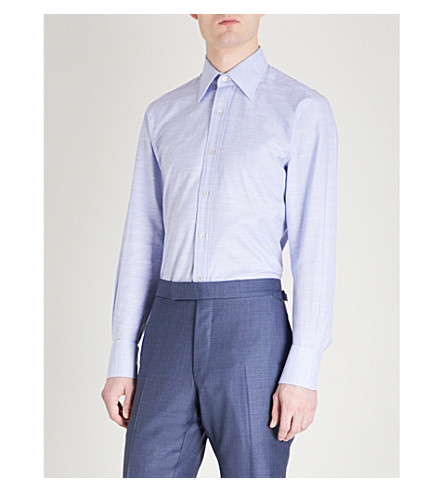 TOM FORD Checked classic-fit cotton shirt (Blue
