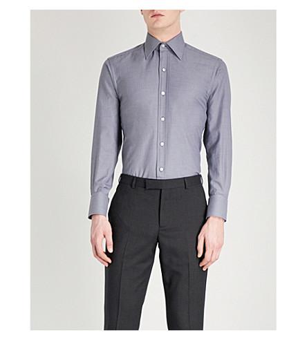 TOM FORD Sharkskin-pattern regular-fit cotton shirt (Grey