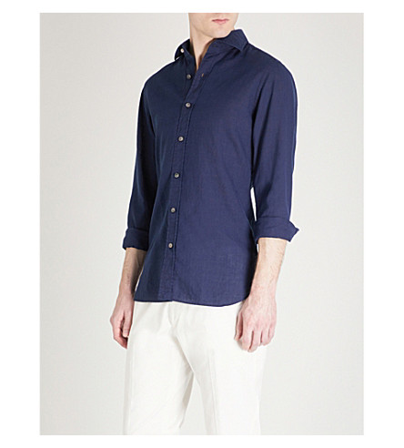TOM FORD Classic-fit linen and cotton-blend shirt (Navy