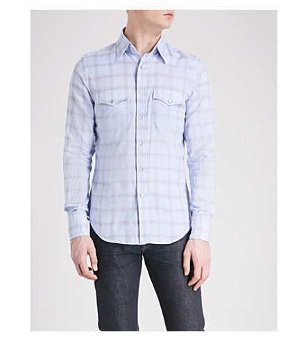 TOM FORD Optical checked regular-fit cotton shirt (Blue