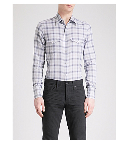 TOM FORD Optical checked regular-fit cotton shirt (Grey