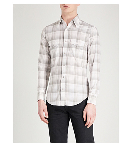 TOM FORD Sable Sport checked regular-fit cotton-crepe shirt (Grey