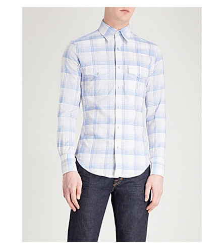 TOM FORD Sable Sport checked regular-fit cotton-crepe shirt (Blue