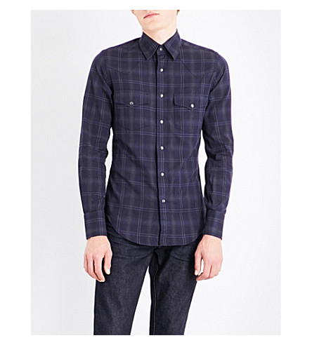 TOM FORD Checked western cotton shirt (Navy