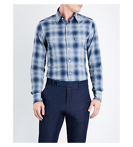 TOM FORD Western checked slim-fit cotton shirt (Teal