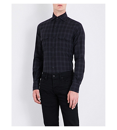 TOM FORD Checked slim-fit cotton shirt (Black