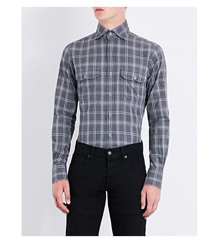 TOM FORD Checked slim-fit cotton shirt (Grey