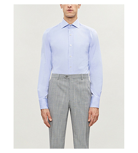 TOM FORD slim-fit cotton-poplin shirt (Blue