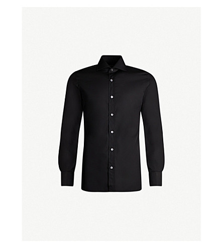 TOM FORD Slim-fit cotton-poplin shirt (Black