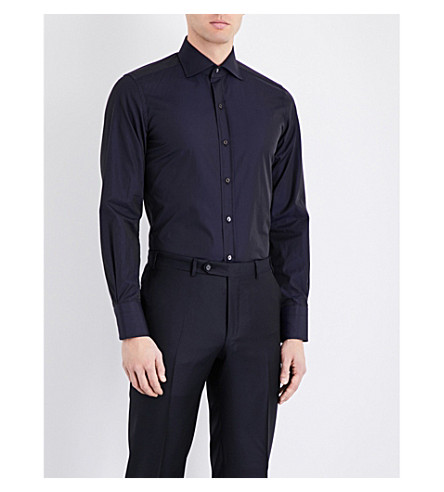 TOM FORD Regular-fit satin and cotton shirt (Navy