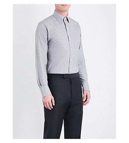 TOM FORD Regular-fit mini houndstooth cotton shirt (Black