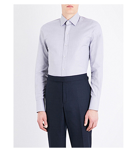 TOM FORD Micro-check slim-fit cotton shirt (Grey