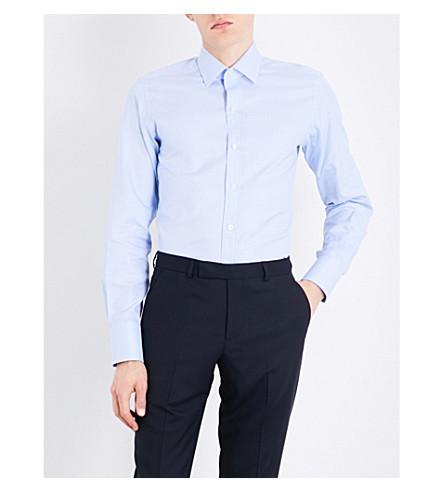 TOM FORD Micro-check slim-fit cotton shirt (Blue