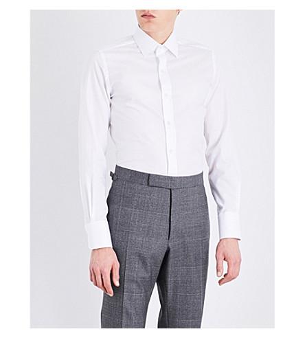 TOM FORD Micro herringbone slim-fit cotton shirt (White