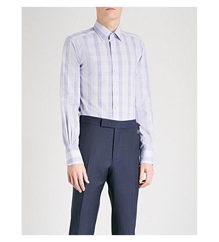 TOM FORD Checked slim-fit cotton shirt (Blue