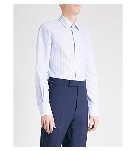 TOM FORD Striped slim-fit cotton shirt (Blue