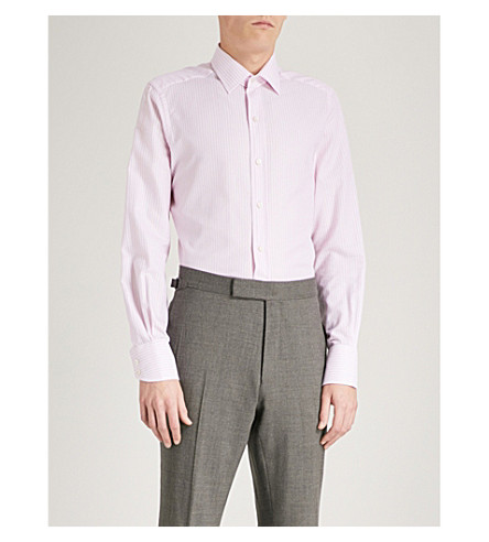 TOM FORD Striped slim-fit cotton Oxford shirt (Pink