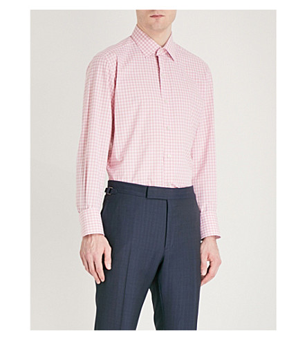 TOM FORD Gingham slim-fit cotton shirt (Pink